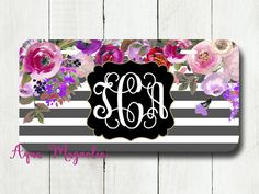 Watercolor Peony Flowers - Pink & Purple - Personalized - License Plate - Watercolor Floral Roses - Car Tag - Monogrammed License Plate by AquaMagnolia on Etsy