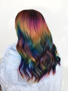 another shot of my sunset rainbow creation 😍 i had so much fun playing around with different placement to create this one. i love how every rainbow is different 😇🌈 Creative Hair Color, Cool Hair Color, Rave Hair, Oil Slick Hair, Retro Wedding Hair, Crazy Hair Days, Mermaid Hair, Mermaid Makeup, Hair Dye Colors
