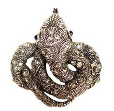 Silver & Rhinestone Python Snake Serpent Pendant Large Heavy Piece #Unbranded #Pendant