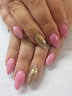 Pink and gold glitter gel
