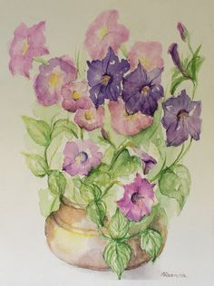 Purple pink Flowers, Original Watercolor Painting, Aquarelle, Still Life, Ffloral art, Flowers, Wall Art, green, pink,