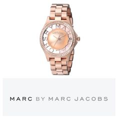 Marc Jacobs Henry Rose Gold Skeleton Watch I bought this beautiful rose gold watch as a Christmas present to myself and then changed my mind and bought a different watch. It's a skeleton watch, there's glass on both sides of the watch case and you can see through the watch! Includes tags, pillow, booklet and box. Marc By Marc Women's Henry Skeleton Watch MBM3339 Catalog #: 1681915133 Quartz Movement Case diameter: 35mm Mineral Crystal Stainless Steel case with Stainless-Steel band…