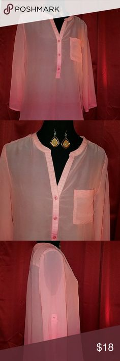 Beautiful Liz Claiborne Sheer Spring Top Practically New  Liz Claiborne Sheer Spring Top  Silk Like Tunic Spring Top  Size Large (fit A Medium) Worn Once For A picture  Excellent Condition  Coral Color  GET THE MATCHING EARRINGS PICTURED FOR $4 MORE  #CaliforniaStyle #Coachella #Summer #Spring  #BeautifulTop #DesighnerStyle #BoutiqueFind Liz Claiborne Tops