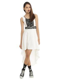 Royal Bones By Tripp Cream Sleeveless Hi-Low Dress, WHITE
