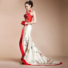 Material: Red and white satin Design Details: Strapless; full body embroidered; trailing dress Features: 100% Original design Approx. Length: floor length Note: This dress is final sale. Ther...