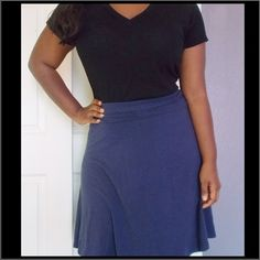 Dark blue casual skirt Dark blue skirt. Foldover waistband, knee length, soft stretchy fabric. Ladies size M GAP Skirts Midi