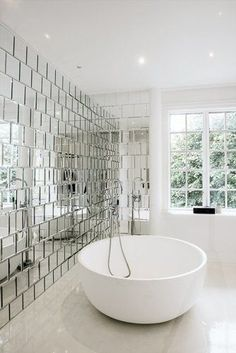 Modern mirrored bathroom wall Visit us at www.ie for more modern bathroom ideas :) Bad Inspiration, Bathroom Inspiration, Mirror Inspiration, Bathroom Wall, Modern Bathroom, Small Bathrooms, Minimalist Bathroom, Bathroom Vanities, Mirrored Tile Bathroom