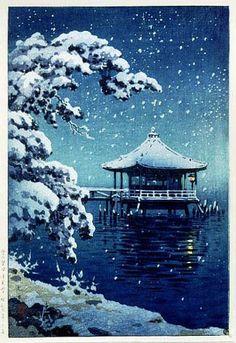 hanga gallery . . . torii gallery: Snow at the Ukimido, Katada by Tsuchiya Koitsu