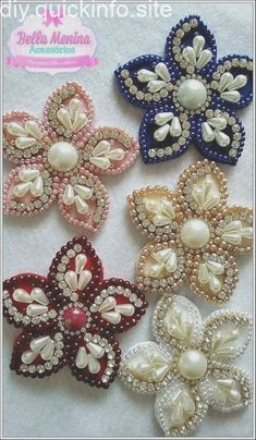 Pearl Headband, Diy Hair Accessories, Bead Crafts, Baby He Bead Embroidery Patterns, Bead Embroidery Jewelry, Hand Embroidery Designs, Beaded Embroidery, Beading Patterns, Beaded Flowers, Fabric Flowers, Felt Flowers, Diy Flowers