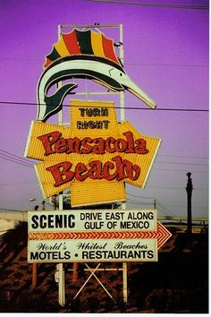 Pensacola, Florida Old iconic sign that directed you to the beach Pensacola Beach, The Places Youll Go, Places To Go, Gulf Coast Beaches, Florida Homes For Sale, Surf, Navarre Beach, Bagdad, Vintage Florida