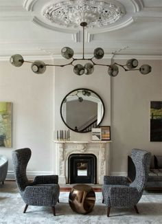 modern light fixture with classic beautiful ceiling medallion.  perfection!