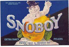 Original 1925 Snowman Pear Crate Label Seattle Pacific Fruit Produce Company | eBay