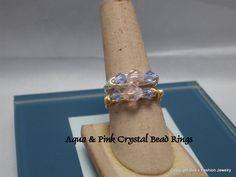 Aqua & Pink Crystal Bead Ring by BobsFashionJewelry on Etsy