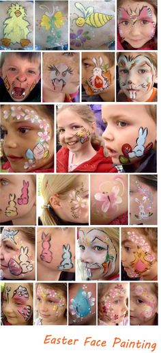 lots of easter themed face painting ideas, Easter chick, dalfodil, bee, butterfly, Easter eggs, Easter bunny & rabbit and Easter flower designs.