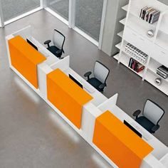 Reception Desks - Contemporary and Modern Office Furniture - this would probably work for a busy library circulation desk. Would need to be able to show people the monitor, though. Office Table Design, Office Space Design, Dental Office Design, Modern Office Design, Office Furniture Design, Modern Reception Desk, Reception Desk Design, Office Reception, Bank Interior Design