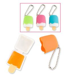 popsicle lip gloss (assorted) You know popsicles are lip-smacking good -- so we dont need to tell you how yummy popsicle lip gloss is! Comes on a key chain; assorted colors.