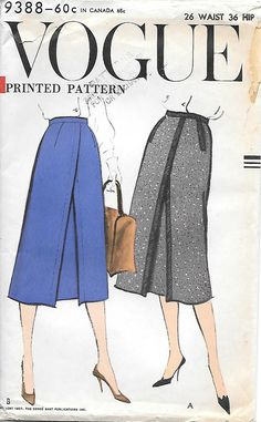 Vogue 9388 1950s Inverted Pleat Fitted Skirt Vintage Sewing