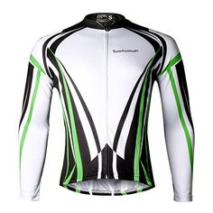 Twotwowin Cycling Jersey for Men Top Cool Design Large Green Long Sleeve     Want to c8db0a443