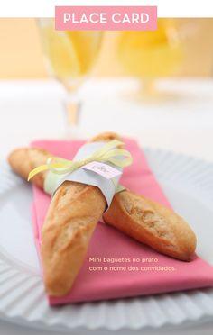Inspiração - baguetes na mesa marcando o lugar dos convidados #wedding