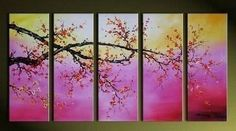 100% Hand Painted Artwork Flower Painting 5 Piece Wall Art Large Oil Painting Modern Art Canvas Art Gallery Wrapped Stretched and Ready to Hang by Paintingworld, http://www.amazon.com/dp/B00B9RA4N6/ref=cm_sw_r_pi_dp_1dcYrb11RAVG8