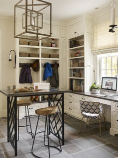 Mud Room Laundry Craft - Design photos, ideas and inspiration. Amazing gallery of interior design and decorating ideas of Mud Room Laundry Craft in dens/libraries/offices, laundry/mudrooms by elite interior designers. Built In Desk, Built In Bookcase, Built Ins, Bookshelves, Laundry Craft Rooms, Basement Laundry, Home Office Decor, Home Decor, Office Ideas