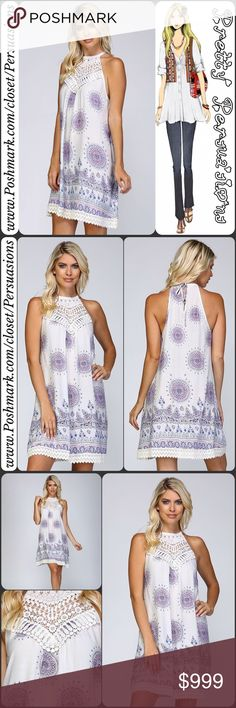 """NWT Boho Mandala Floral Print Crochet A-Line Dress NWT Boho Mandala Floral Print & Crochet A-Line Dress  Available in sizes S, M, L Measurements taken from a size small  Length: 34"""" Bust: 36"""" Waist: 46""""  Features  • cotton crochet appliqué at bust • cotton lace crochet trim at bottom hem • woven, lightweight, soft & breathable material • all over mandala & floral print • a-line • sleeveless • relaxed fit • ties at back of neck • split/keyhole accent at back of neck  Bundle discounts…"""