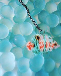 Miyuki necklace fish brick stich