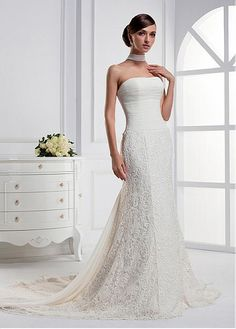GRACEFUL CHIFFON LACE SHEATH STRAPLESS NECKLINE RUCHED BODICE WEDDING DRESS LACE BRIDESMAID PARTY COCKTAIL GOWN