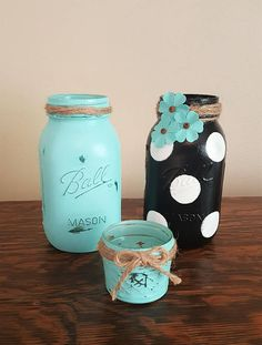 mason jar set, polka dot mason jar, home decor