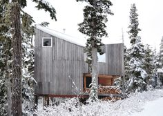 """Residential Architecture: Alpine Cabin by Scott & Scott Architects: """"..The partners of new Vancouver, British Columbia, Canada, studio Scott & Scott Architects created this remote snowboarding cabin for their own use at the northern end of Vancouver Island..The Alpine Cabin bySusan and David Scottis lifted off the ground on six columns made of douglas fir tree trunks, which pierce through the rooms on both storeys..The exterior clad in cedar, intended to weather to the tone of the surrounding."""