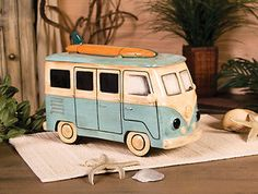 SURFER Surf Board Beach VW Van COOKIE JAR Retro 1970's Design