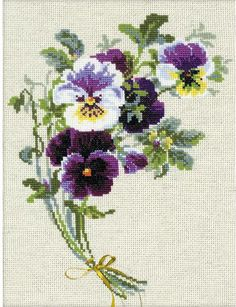 Riolis Bunch Of Pansies Flowers - Cross Stitch Kit. This cross stitch kit contains 14 count flaxen evenweave fabric for cross stitch, Safil wool/acrylic threads Hand Embroidery Patterns, Embroidery Kits, Cross Stitch Embroidery, Embroidery Needles, Cross Stitching, Embroidery Designs, Cross Stitch Designs, Cross Stitch Patterns, Brazilian Embroidery Stitches