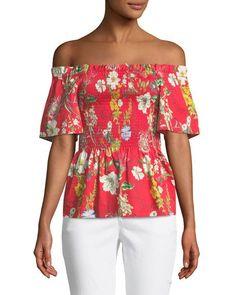 Penn Off-the-Shoulder Floral-Print Blouse $178