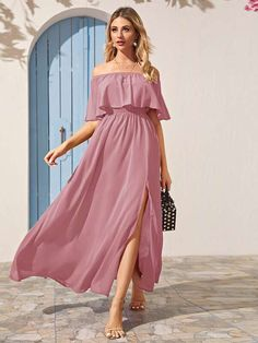 Check out this Solid Foldover Split Thigh Bardot Dress on Shein and explore more to meet your fashion needs! Women's A Line Dresses, Elegant Dresses, Long Summer Dresses, Spring Dresses, Thigh Sleeve, Bardot Dress, Thing 1, One Piece Dress, Latest Dress