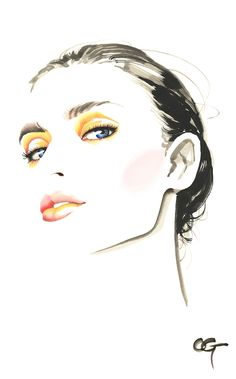Fashion Illustration Speed Painting with Ink - Drawing On Demand Fashion Illustration Face, Illustration Art, Art Illustrations, Watercolor Face, India Ink, Art Graphique, Beauty Art, Fashion Face, Portrait Art