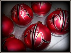Six Satin Red Hand Pinstriped Ornaments. $30.00, via Etsy.