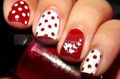 fyeahilovenails: Valentine Nails; Hearts & Dots