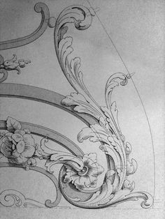 surface fragments: Ornament Drawings You are in the right place about ornamental grasses Here we offer you the most beautiful Wood Carving Patterns, Carving Designs, Baroque Frame, Ornament Drawing, Grisaille, Scroll Design, Mandala Tattoo, Architectural Elements, Rococo