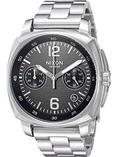 Nixon Men's 'Charger Chrono' Quartz Metal and Stainless Steel Automatic Watch, Color:Silver-Toned (Model: A1071000-00) ❤ Nixon Inc.