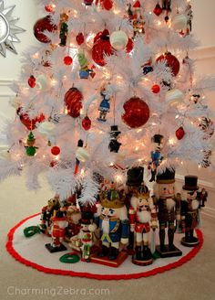 Nutcracker Tree Skirt::With Nutcracker collection beneath the tree.