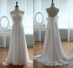 Sweetheart A-line Chiffon Bridal Wedding Dress Chiffon Beach Wedding Dress Elegant Lace Brial Gown with Bow on Etsy, $139.99