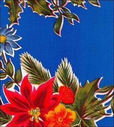 Oilcloth By The Yard - Christmas Poinsettia Blue Oilcloth