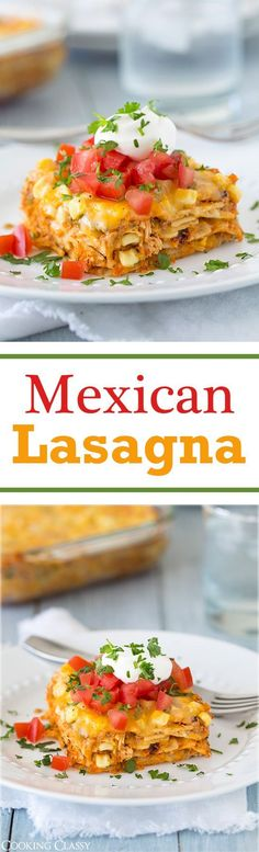Mexican Lasagna - love this exciting twist on lasagna! Made with corn tortillas and a creamy salsa chicken filling. It's delicious!!