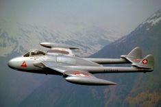 Photo: J. Air Force Aircraft, Fighter Aircraft, Fighter Jets, Mk1, Rolls Royce, De Havilland Vampire, Swiss Air, American Air, Old Planes