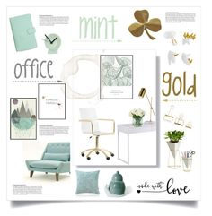 mind and gold office by levai-magdolna on Polyvore featuring interior, interiors, interior design, home, home decor, interior decorating, PBteen, Umbra, WALL and Imm Living
