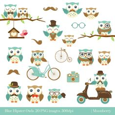 Blauwe Hipster uilen illustraties. Uilen door MoonberryDigitalArt