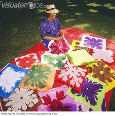 free hawaiian quilt patterns to download | Senior woman sews Hawaiian quilts on lawn, beautiful colorful patterns ...