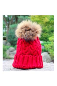 Red Fleece Lined Pom Pom Hat. One Size Fits Most. All Man Made Materials. Fleece Lined Hat by 6th Borough Boutique. Accessories - Hats New Jersey
