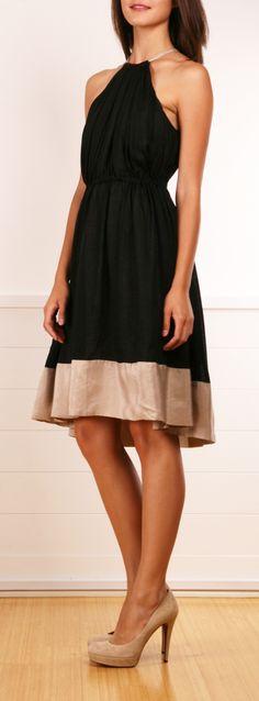 Robert Rodriguez black and beige dress