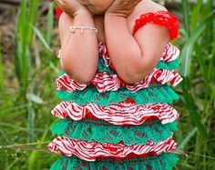 Christmas Romper-Lace Petti Romper-Baby Girl Clothes-Christmas Outfit-Newborn-Infant-Preemie-Child-Toddler-Christmas Dress-Christmas Clothes